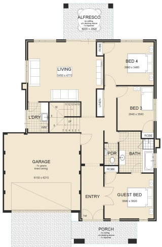 Calais-Upstairs-Living House Plan-1