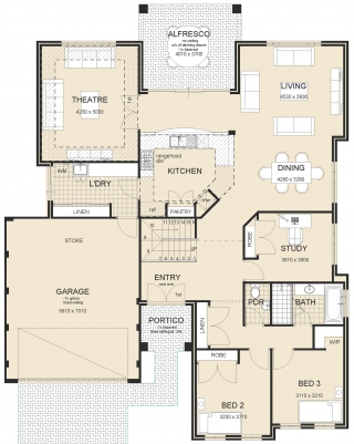 Livingstone-4-Bed House Plan-1
