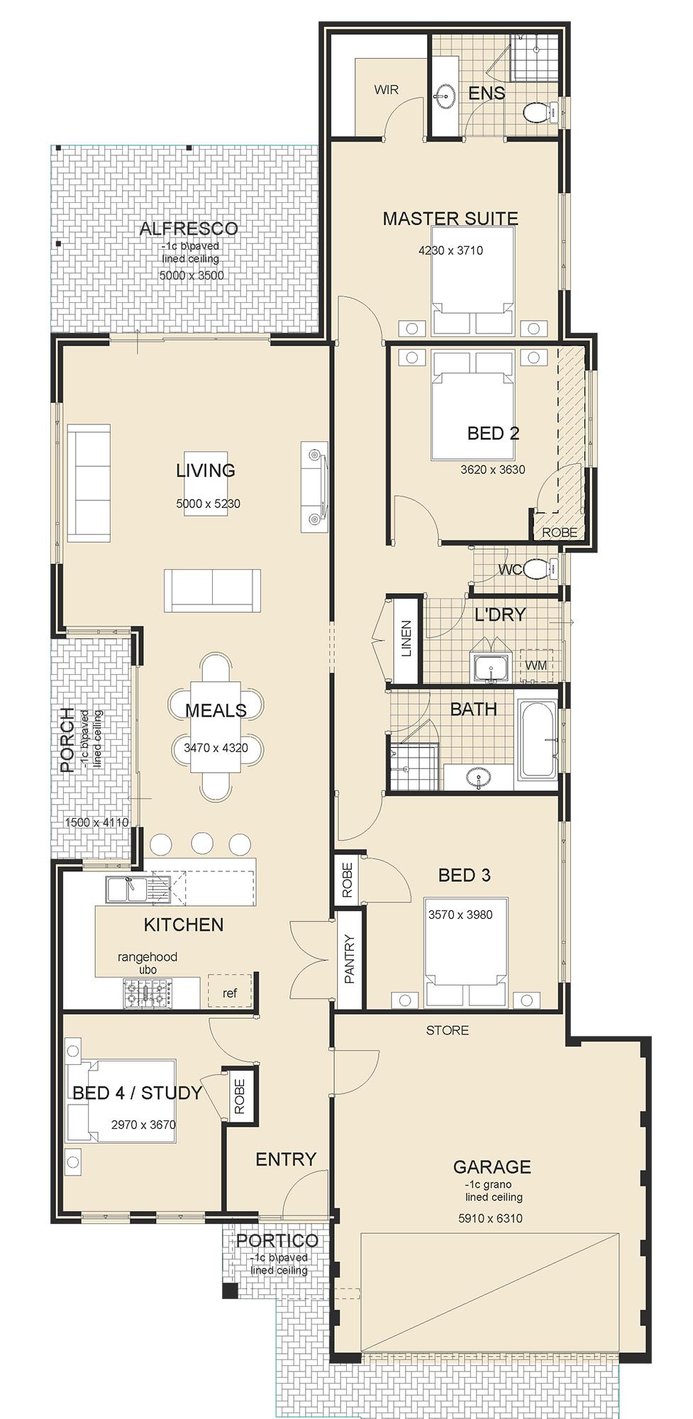 Osborne Front Garage house plan perth
