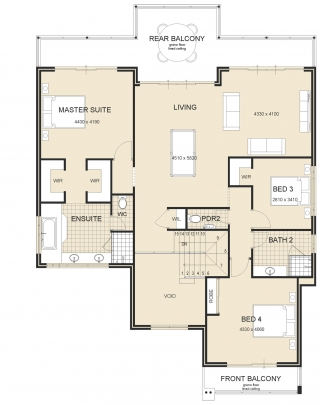 Waterview Metro Master Upstairs House Plan 2