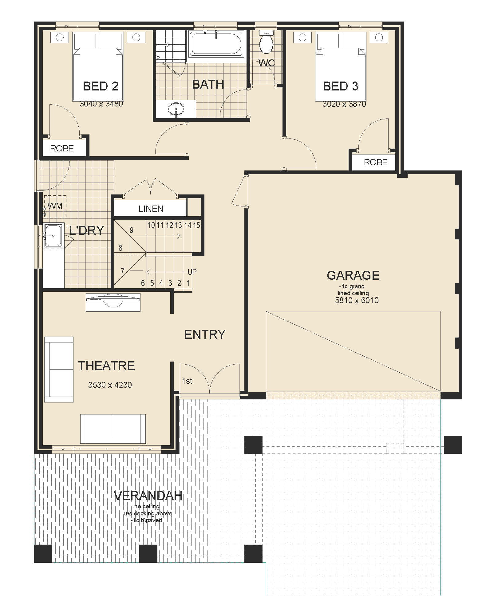 House design upstairs living - San Remo Series 1 Upstairs Living House Plan Sample